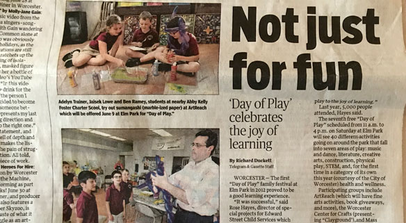 Day of Play newspaper article closeup