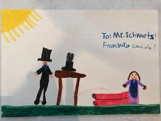 thank you card for Steven's preschool show