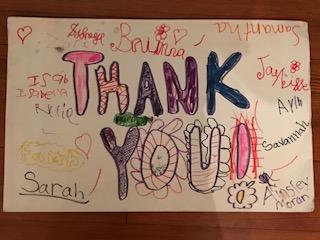 children's thank you card for Steven's preschool show